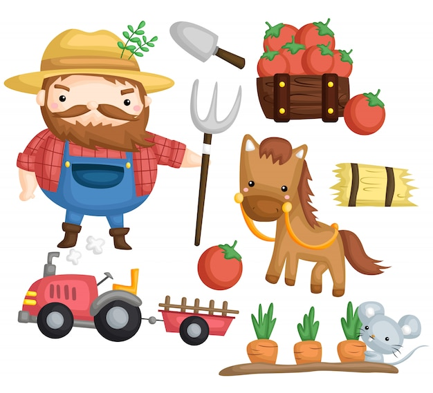 Farmer and horse Premium Vector