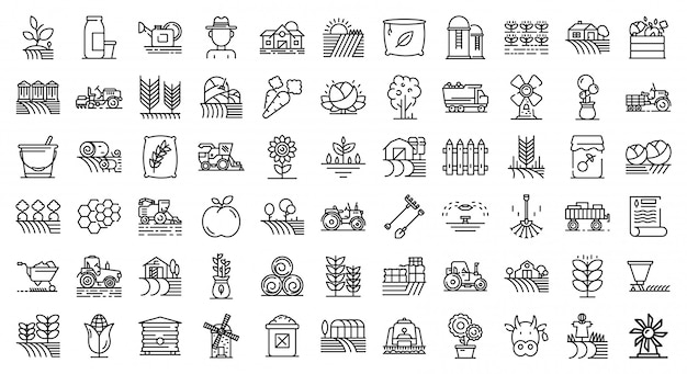 Farmer icons set, outline style Premium Vector