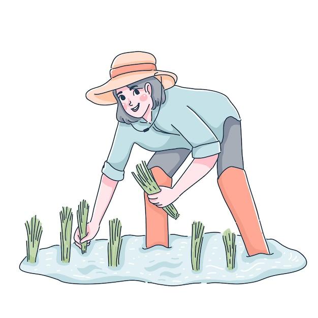 Farmer illustration Premium Vector