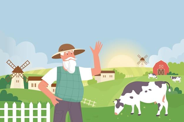 Фермер в сельской местности сельхозугодий пейзаж с коровами Premium векторы