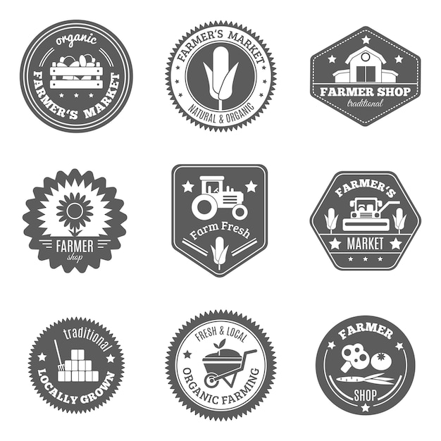 Farmer label set Free Vector