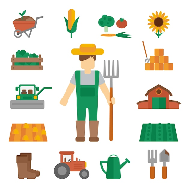 Farmer land icons flat Free Vector