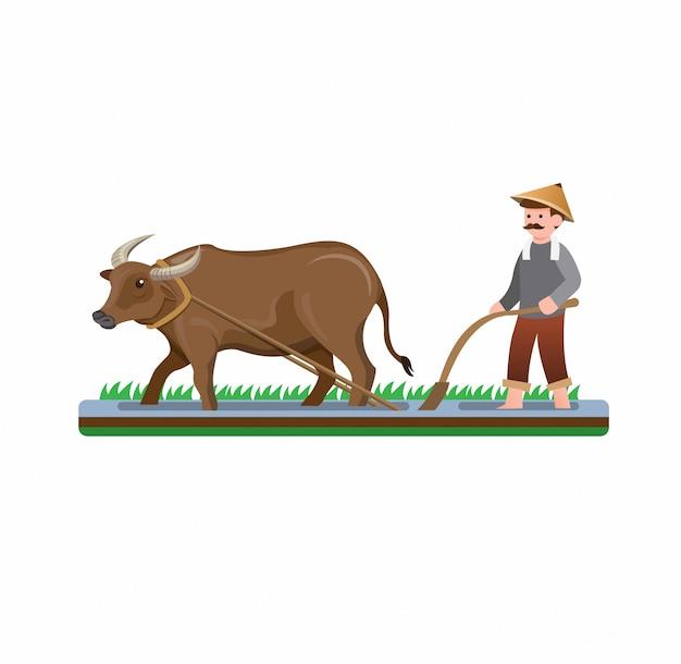 分離された水牛漫画フラットイラストベクトルで水田を耕す農夫男 Premiumベクター