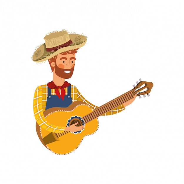Farmer man with musical instrument Premium Vector