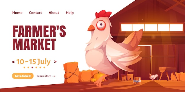 Farmer market cartoon landing page with chicken in barn or farm house. Free Vector