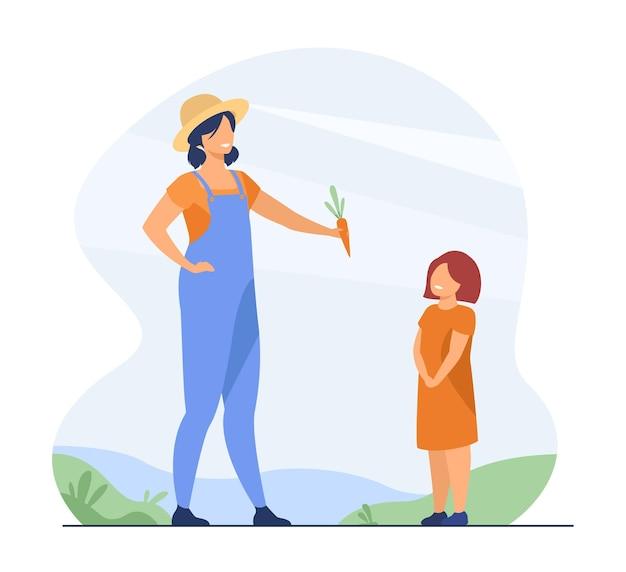 農夫のお母さんと子供。屋外で子供に新鮮な野菜を与える母。漫画イラスト 無料ベクター