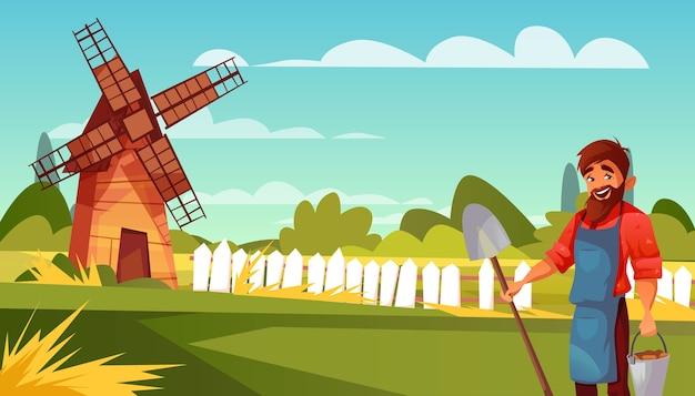 Фермер или крестьянин иллюстрация человека с лопатой и ведром урожая. Бесплатные векторы