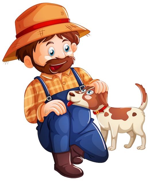 Agricoltore che gioca con il simpatico cane su sfondo bianco Vettore gratuito