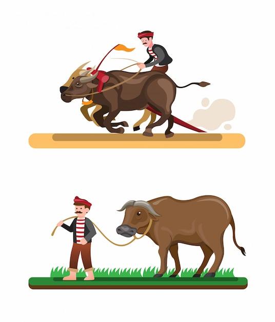 Фермерская раса буйволов азиатская традиционная достопримечательность, человек езда буйволов коллекция в векторные иллюстрации мультфильм Premium векторы