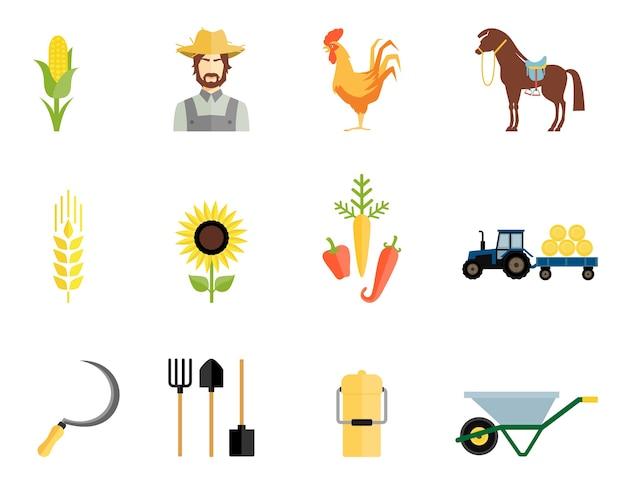 農夫、オンドリ、馬と野菜と作業ツールのアイコン 無料ベクター