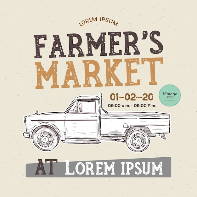 Farmer's market themed vintage styled vector illustration of the old school farmer's . hand draw sketch vector. Premium Vector