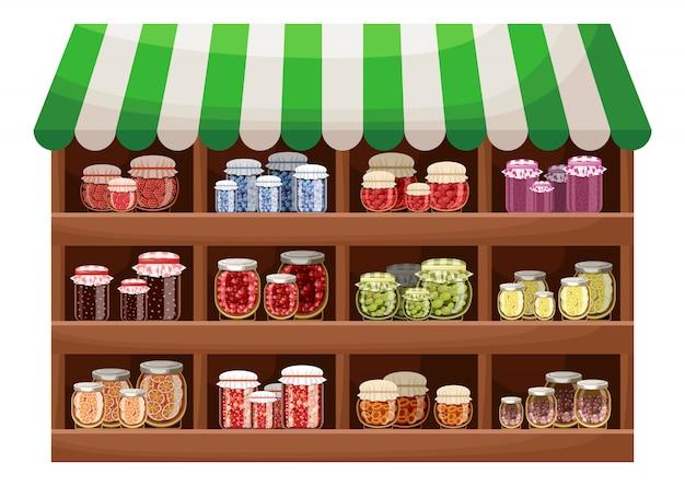 Фермерский магазин ягодного варенья Premium векторы