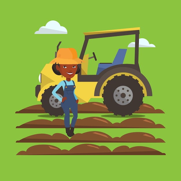 Farmer standing with tractor on background. Premium Vector