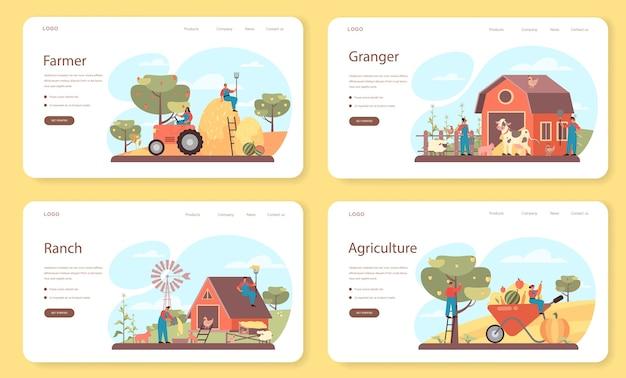 Farmer web banner or landing page set. Premium Vector