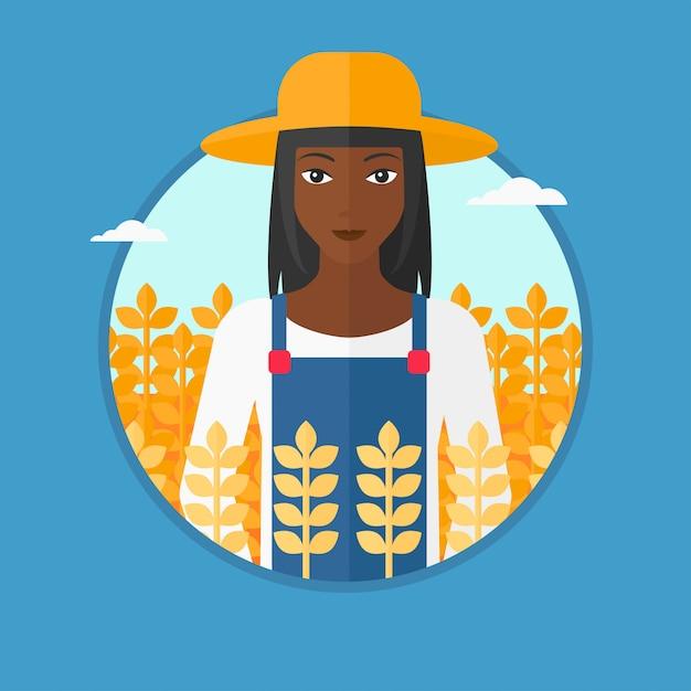 Farmer in wheat field vector illustration. Premium Vector