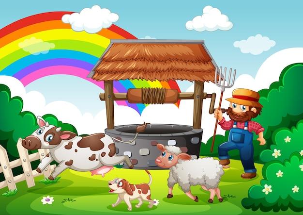 漫画スタイルの農場シーンで動物農場を持つ農家 無料ベクター