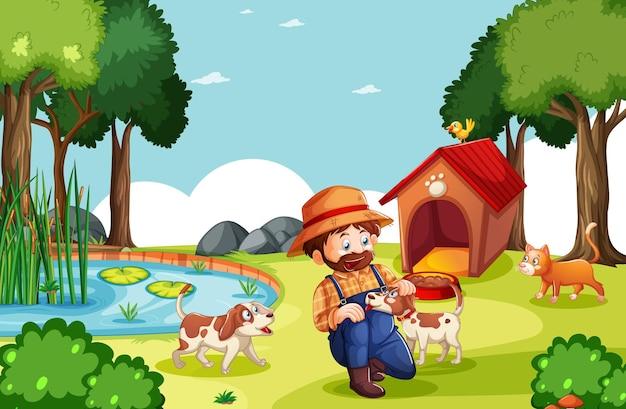 Фермер с животноводческой фермой на ферме в мультяшном стиле Бесплатные векторы