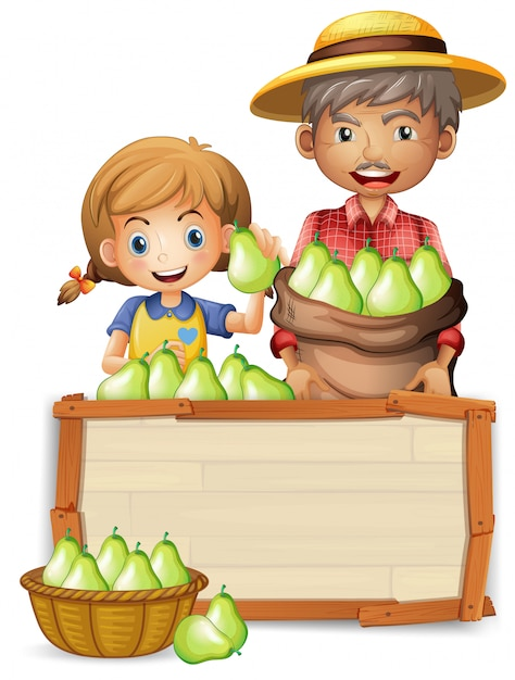 Farmer with pear on wooden banner Free Vector