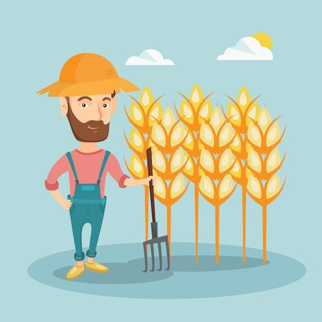 Farmer with pitchfork vector illustration. Premium Vector