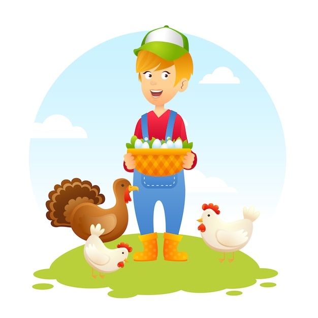 Farmer woman with chicken Free Vector