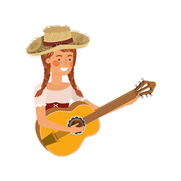 Farmer woman with musical instrument Premium Vector