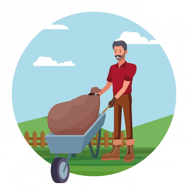 Farmer working in camp cartoon Free Vector