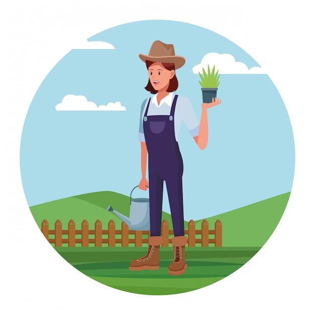 Farmer working in camp cartoon Free Vector