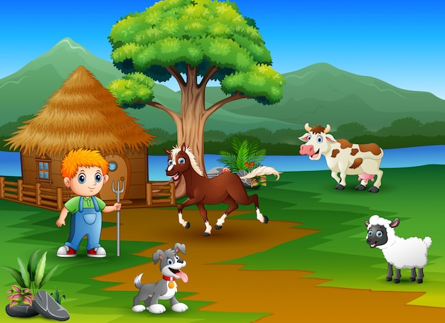 Фермеры и скотный двор с красивыми природными пейзажами Premium векторы