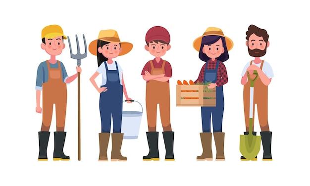 농부와 수확 캐릭터, 농업 노동자. 프리미엄 벡터