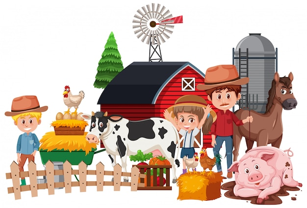 Farmers and animals on white Premium Vector