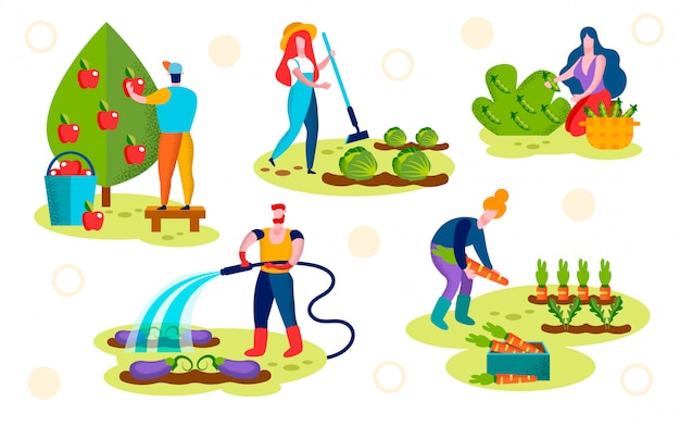 Farmers caring of plants set. horticulture, garden Premium Vector