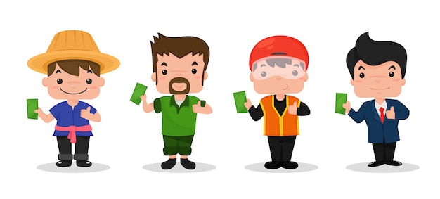 Farmers, carpenters, motorcyclists and businessmen. Premium Vector