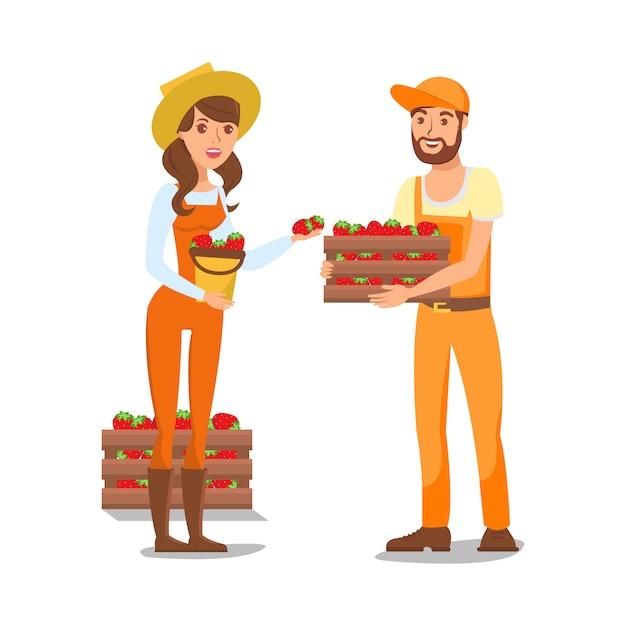 Farmers cartoon characters vector illustration Premium Vector
