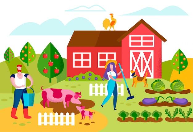 Farmers characters working in garden. husbandry Premium Vector