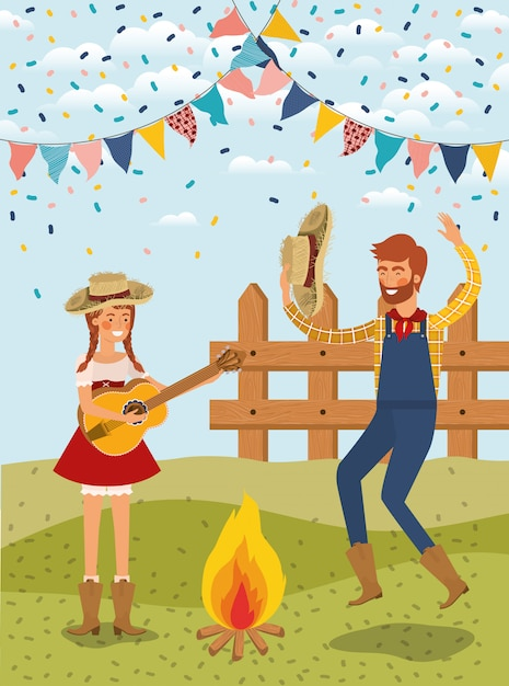Farmers couple celebrating with garlands and fence Premium Vector