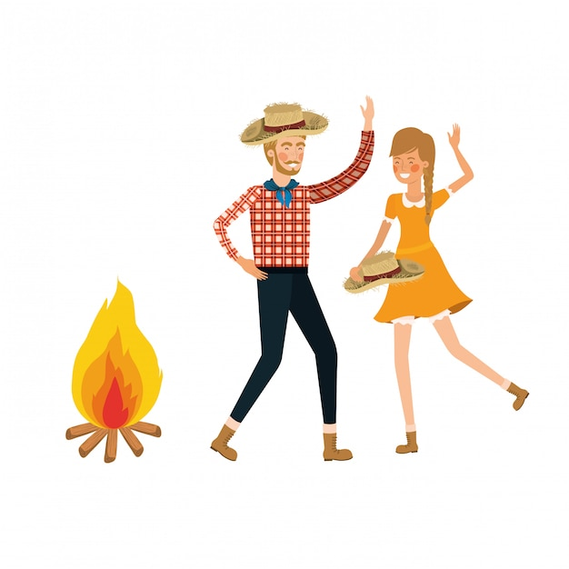 Farmers couple dancing with straw hat and bonfire Premium Vector