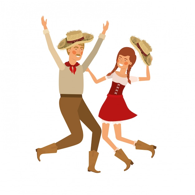 Farmers couple dancing with straw hat Premium Vector
