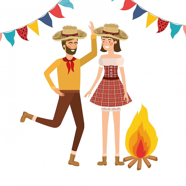 Farmers couple dancing with straw hat Free Vector