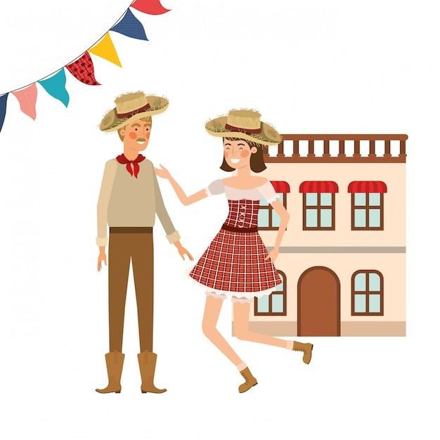 Farmers couple dancing Free Vector