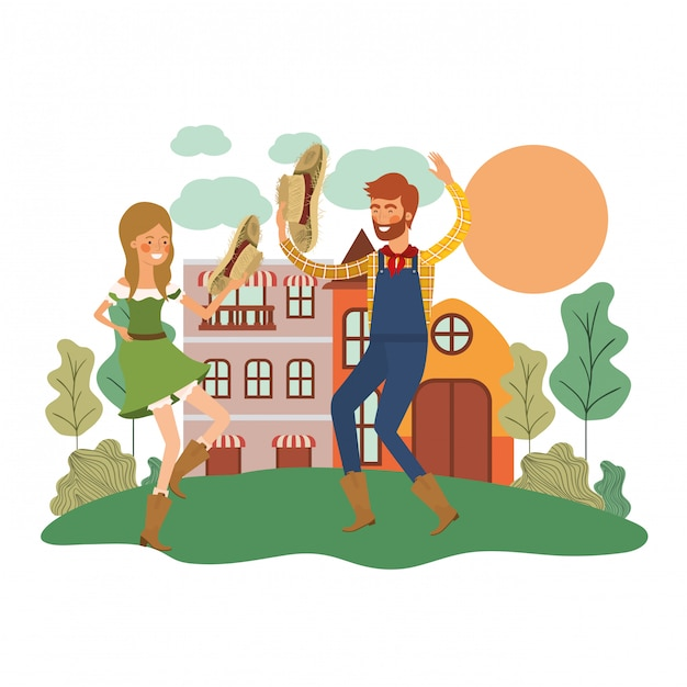 Farmers couple dancing Free Vector