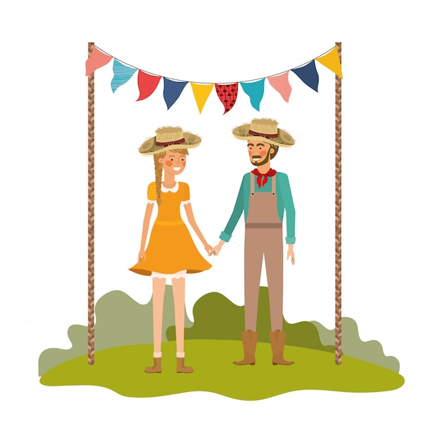 Farmers couple talking with straw hat in landscape Premium Vector