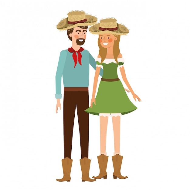 Farmers couple talking with straw hat Premium Vector
