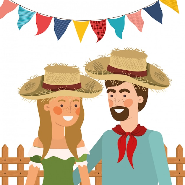 Farmers couple talking with straw hat Free Vector