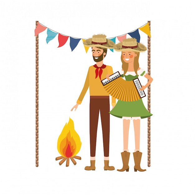 Farmers couple with musical instrument Free Vector