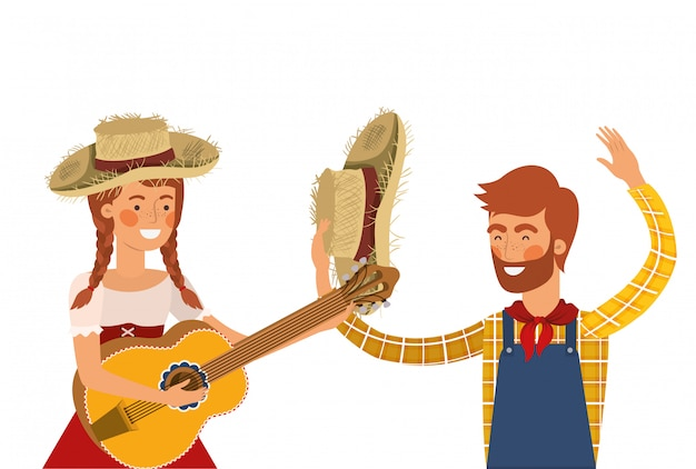 Farmers couple with musical instrument Premium Vector