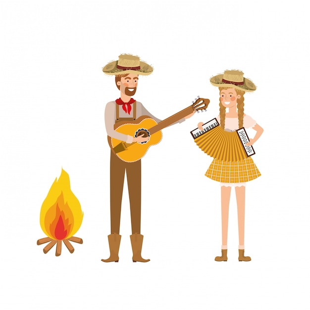 Farmers couple with musical instruments and bonfire Premium Vector