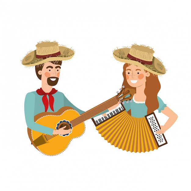 Farmers couple with musical instruments Premium Vector