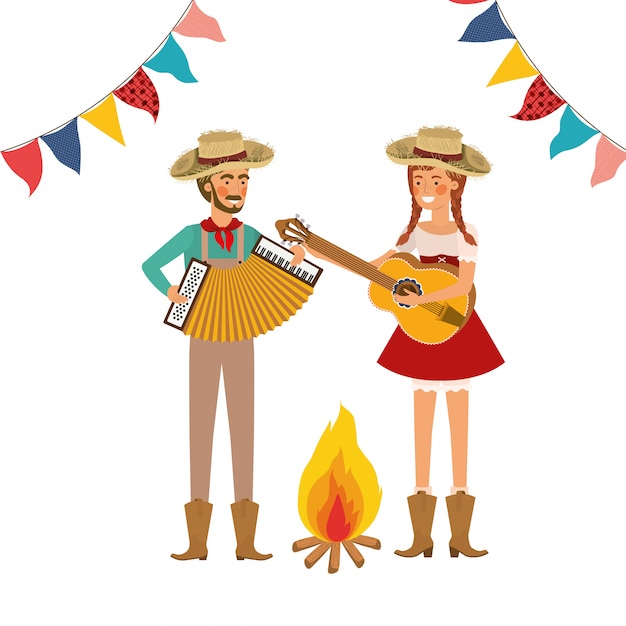 Farmers couple with musical instruments Free Vector
