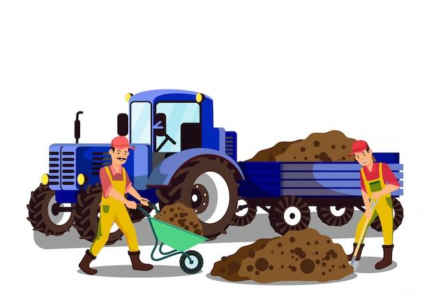 Farmers digging ground flat vector illustration Premium Vector