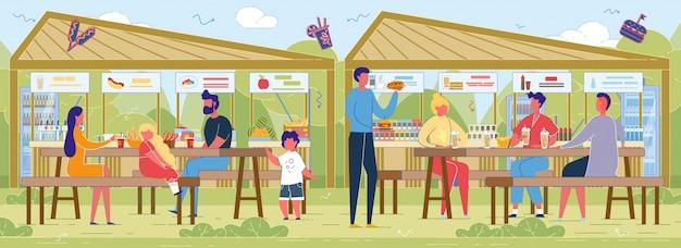 Фермерские ярмарки food court. Premium векторы